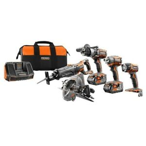 RIDGID 18-Volt Lithium-Ion Brushless Combo Kit (5-Tool)