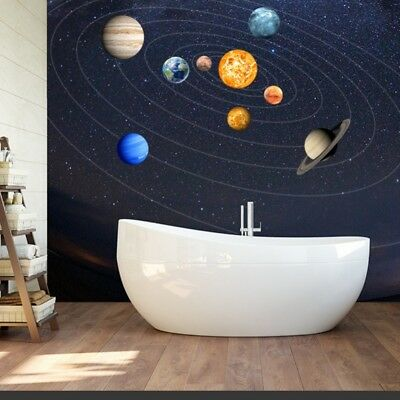 9PCS Planets Wall Stickers Solar System Wall Mural Glow in the Dark Home Decal - Glow In The Dark Wall Decals