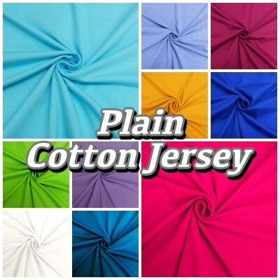 Plain Colour Cotton JERSEY Stretch Knit T-shirt Baby Grow Dressmaking Fabric  ()