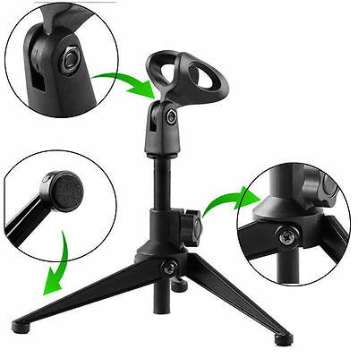 Adjustable Desktop Table Mic Microphone Clamp Clip Holder Stand Tripod BEST