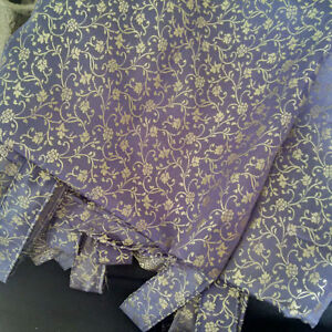 2 Blue-gray and gold polyester Tab top panels/curtains