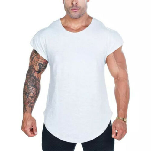 Men's Sport Singlet Gym Blank Raw Edges Vest Workout Training Wear Tank Tops