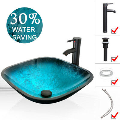 Conventional Vessel Glass Sink Faucet Pop Up Drain Artistic Tempered Dish 1.5GPM Combo