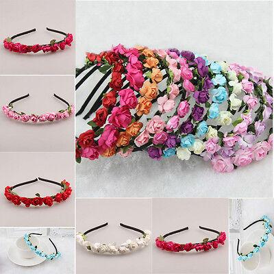 Rose Flower Crown Festival Headband Wedding Garland Floral Hairband Accessories](Festival Accessories)