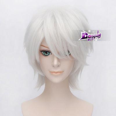 Silver White 12'' Short Anime Halloween Cosplay Wig Heat Resistant - Halloween Short