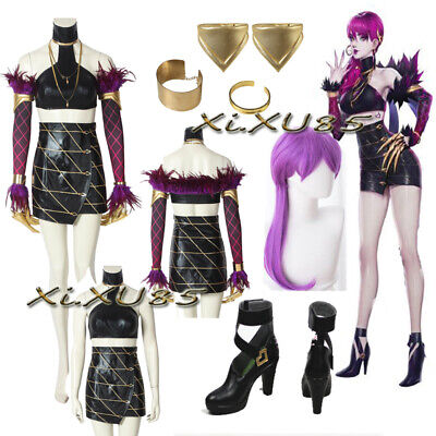 LOL KDA K/DA Evelynn Cosplay Costume Full Set with Boots Wig Halloween - Costume With Boots