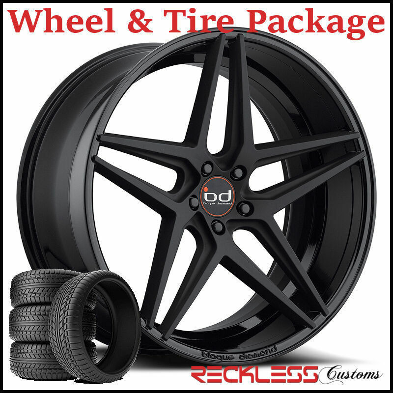 "20"" Blaque Diamond Bd8 Concave Black Wheels And Tires Fits Audi C7 A6"