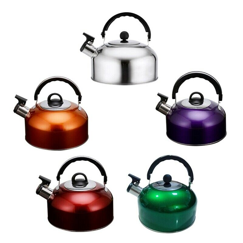 3L Whistling Tea Kettle Stainless Steel Flat Stove Top Teapo