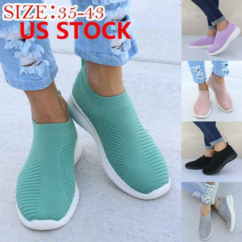 US Womens Casual Sock Mesh Shoes Trainers Flat Slip On Comfy Pumps Sneakers Size