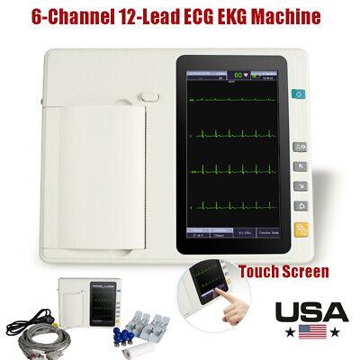 Portable Digtal Ecg Ekg Machine 6channel Electrocardiograph 12leads Touch Screnn