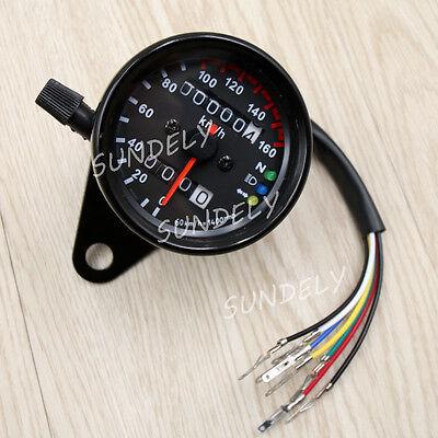 Motorcycle Odometer Speedometer Tachometer Speedo Meter Black LED Backlight New