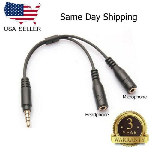 3.5mm Stereo Audio Male to 2 Female Headset Mic TRRS Y Splitter Cable Adapter