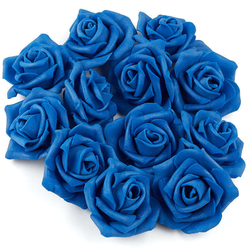 Factory Direct Craft Royal Blue Artificial Rose Heads | 36 Pieces