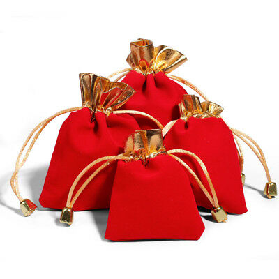 2PC Red Jewelry Pouches Velour Velvet Drawstring Gift Bags 7x9cm
