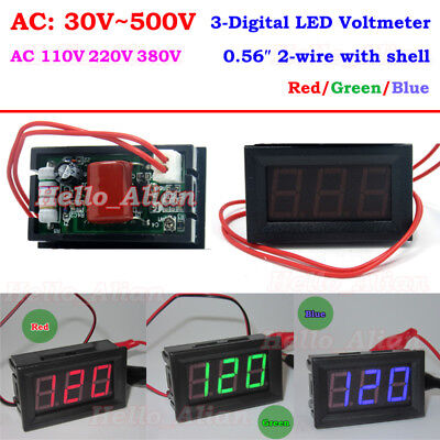 Digital Led Display Ac Voltmeter Voltage Guage Meter Panel Ac 30v-500v 110v 220v