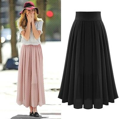 women chiffon long skirt new fashion bohemian beach pleated skirt hot ebay. Black Bedroom Furniture Sets. Home Design Ideas