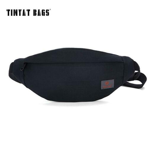TINYAT New Men Casual Waist Pack Bag Brand Canvas Shoulder F