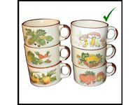 Set of 6 robust 70's vintage retro Porcelain China Soup Bowl/mugs Shell Petrol Collection