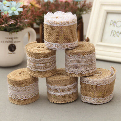 Hot 2M Natural Jute Burlap Hessian Ribbon Lace Trim Wedding Vintage Rustic Decor
