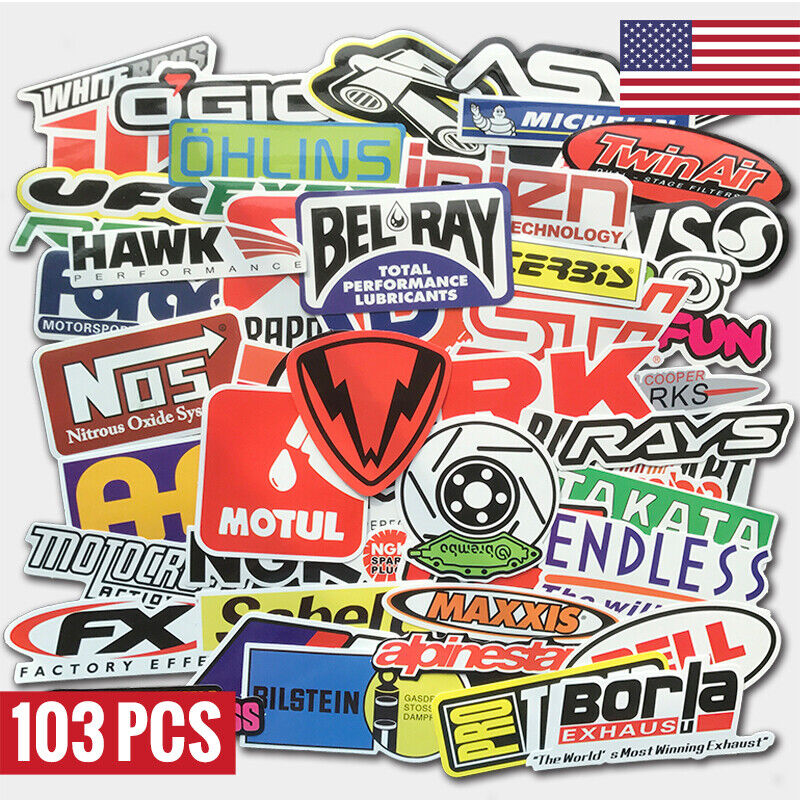 Car Parts - 103Pcs Auto Car Parts NHRA Drag Racing Vinyl Graphics Stickers Bomb Decals Pack