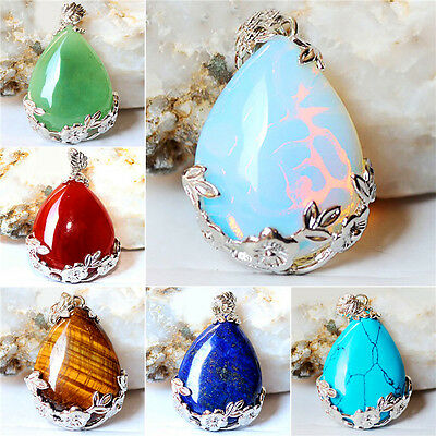 Natural Quartz Crystal Stone Teardrop Flower Healing Gemstone Pendant Necklace