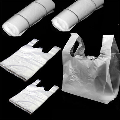 100pcs Carry Out Retail Supermarket Grocery White Plastic Shopping Bags 1516cm