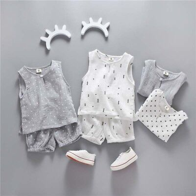 Toddler Kids Baby Boys Cotton Soft Linen Top T shirt+Shorts Pants Outfit Clothes