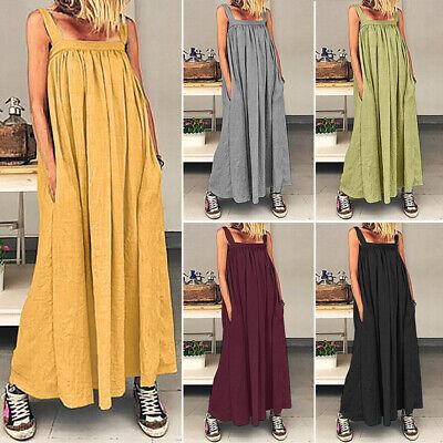 Pocket Kleid (ZANZEA Damen Ärmellos Locker Pocket Prom Kleid Maxikleid Sommerkleid Strandkleid)
