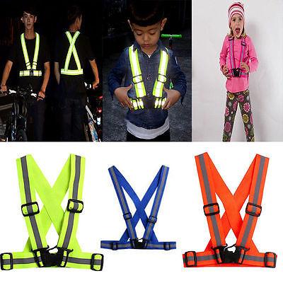 Adjustable Kids Safety Security Visibility Reflective Vest Gear Stripes Jacket