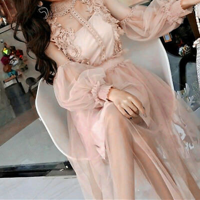 Hot Lady Lace Hollow Out Puff Sleeves Floral Dress Retro Mesh Party Fairy Lolita