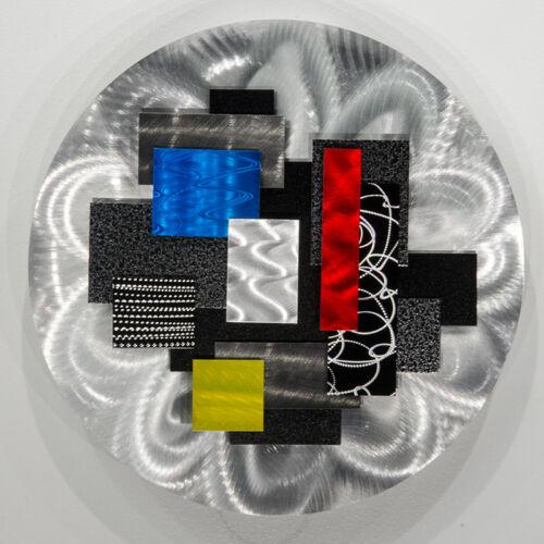 Statements2000 3D Metal Wall Art Accent Silver Red Blue Abstract Decor Jon Allen