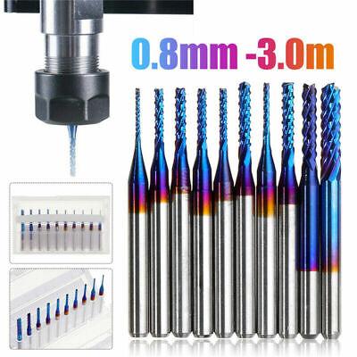 10pcs Set 18 Shank Nano Blue Coat End Mills Cnc Router Bits Set Dia 0.8-3.0mm