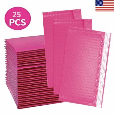 25pack Poly Bag Bubble Mailers 4x8inch Small Shipping Envelopes Padded Bags Pink