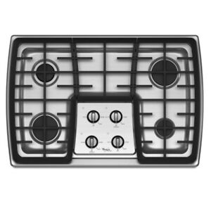 Near Mint Whirlpool Gold 4-Burner Stainless Steel Gas Cooktop