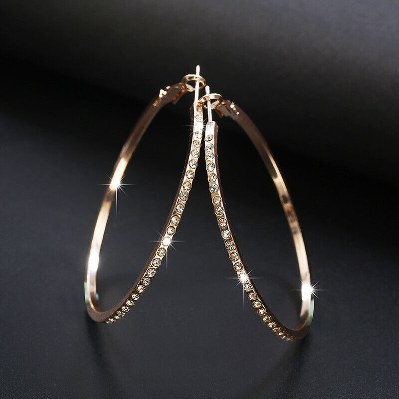 Jewellery - Elegant 925 Silver,Gold,Rose Gold Hoop Earrings for Women Jewelry A Pair/set