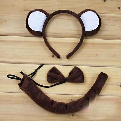 3pcs Halloween Party Bear Mouse Cat EAR Animal Costume Headband Bow Tail set - Bear Halloween Party