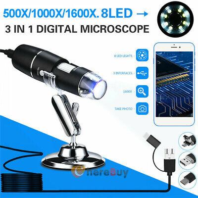 1000x1600x Usb Digital Microscope Camera 8 Led Otg Endoscope Magnification 3in1