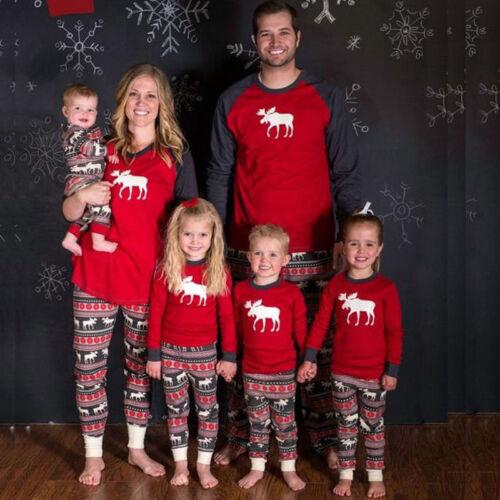 Family Matching Weihnachten Pyjamas PJs Set Xmas Deer Nachtwäsche Outfits Casual