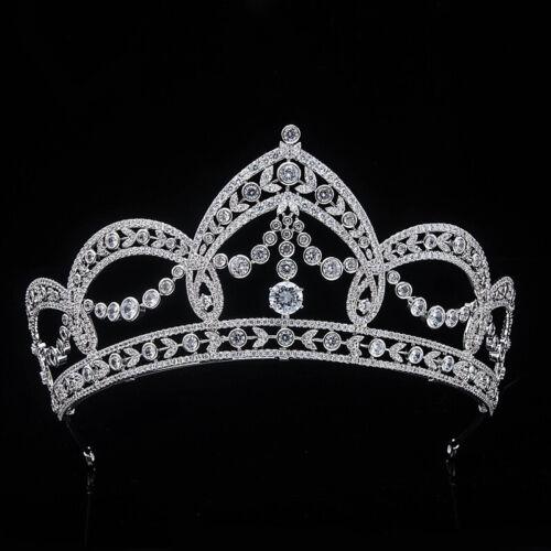 Luxury All CZ Cubic Zirconia Flower Queen Wedding Party Pageant Tiara Crown