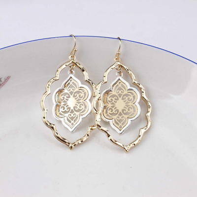 Gold Filigree Moroccan Cutout Designer Inspired Floral Teardrop Earrings Jewelry Designer Floral Earrings