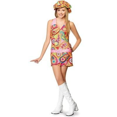GROOVY HIPPIE FLOWER POWER DRESS UP COSPLAY HALLOWEEN COSTUME SZ TEEN M/L + HAT - Teen Hippie Costume