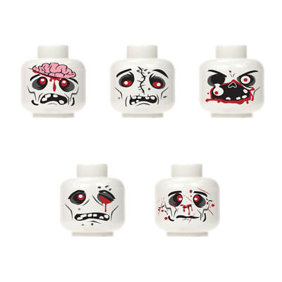 New Custom halloween monster zombie walking dead minifigure head white 5pc set 1