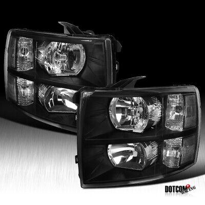 2007-2014 Chevy Silverado 1500 2500 3500HD Pickup Euro Diamond Black Headlights