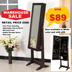 Warehouse Sale Event: Floor Standing Mirror Jewelry Organizer