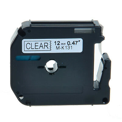 1pk M-k131 Mk-131 Black On Clear Label Tape For Brother P-touch Pt-65sb 12