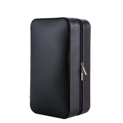 Black Leather Spanish Cedar Lined Portable Cigar Travel Case Humidor