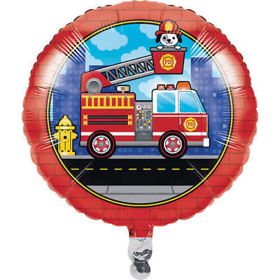 Flaming Fire Truck Balloon (1) - Birthday Party Supplies - Fire Truck Birthday Supplies