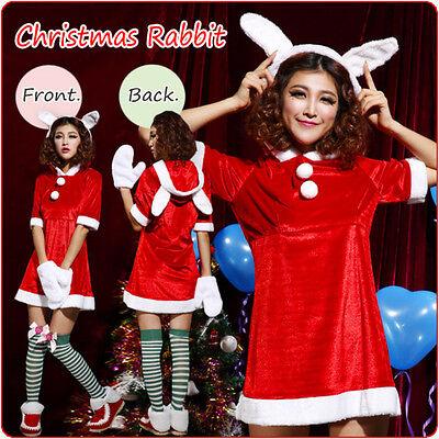 Damen Weihnachten Rot Süß Hase Weihnachtsmann Kostüm Prty Kleid Outfit