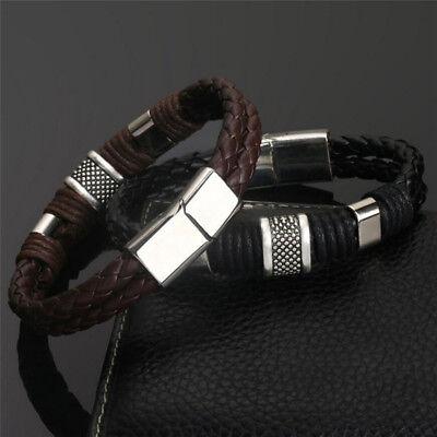 Mens man boys Leather Braided Wristband Bracelet Stainless Steel titanium Clasp