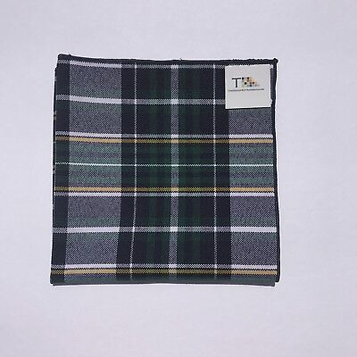 Blue Green And Yellow Plaid Pocket Square with Blue Trim